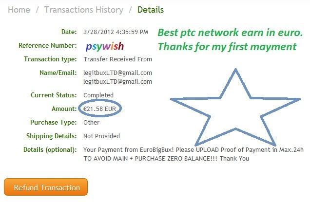 €0 25 PER CLICK - 5€ Bonus! Payment proof included! | TBN